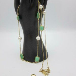 """Kate Spade pearl, green Necklace 30"""" chain w/bag"""